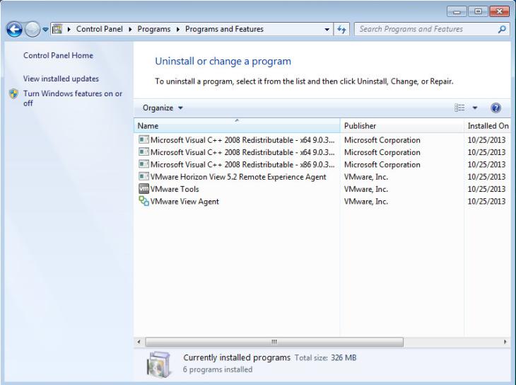 VMwareInstalledPrograms